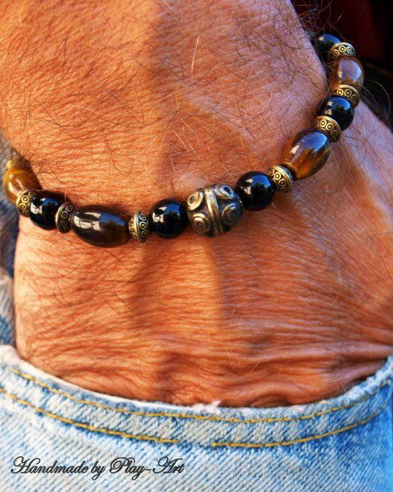 Men's Bracelet Tiger eye Stretch Bracelet Boho men by PlayArt