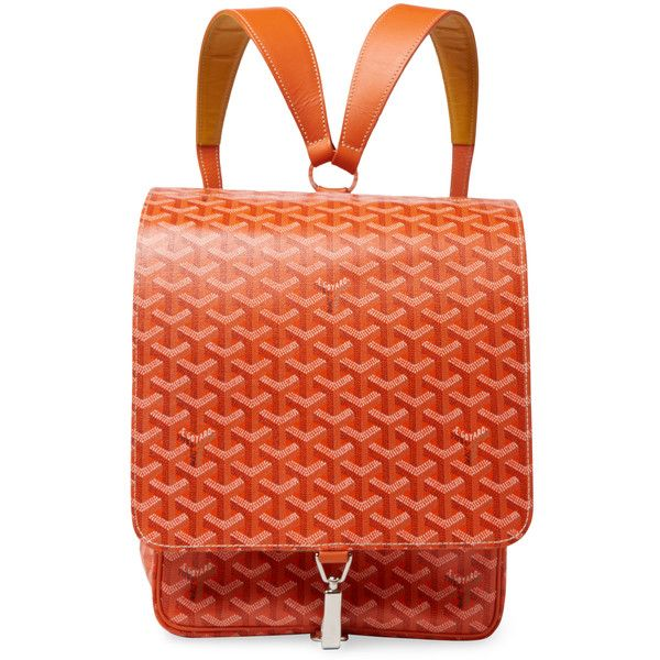Goyard Women's One of a Kind Rare Orange Goyardine Janson Backpack - Orange featuring polyvore, women's fashion, bags, backpacks, orange, real leather backpack, leather knapsack, vintage rucksack, red backpack and orange backpack