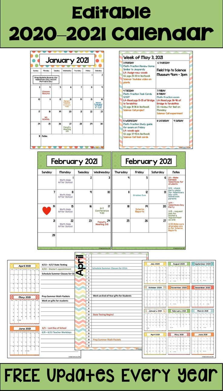 2020 2021 Calendar Printable And Editable With Free Updates In Pastel Colors In 2020 School Calendar 2021 Calendar Editable Calendar