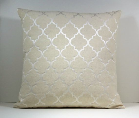 Ready Made Decorative Pillow Covers : READY MADE :) - Natural Neutral color Moroccan Trellis decorative throw pillow cover 18 x18 ...