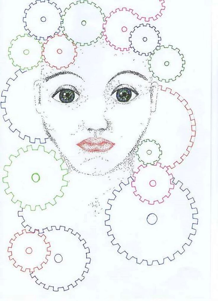 pointylizm, tusz, kropeczki, kobieta, abstrakcja, twarz, koła