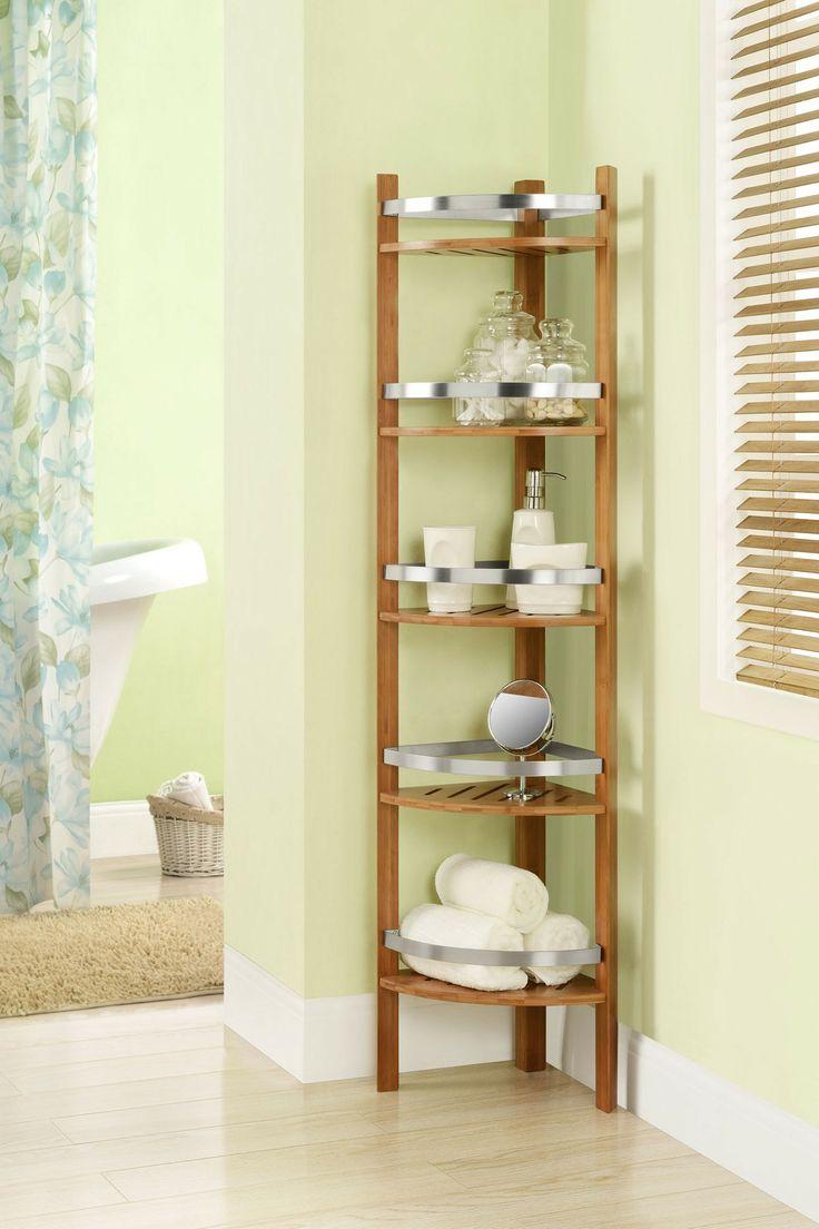 Altra Furniture Cherry Bamboo Bathroom Tall Corner Tower