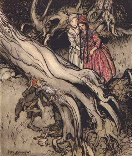 Arthur Rackham illustration of Snow White and Rose Red from the Grimm Brothers fairytales.