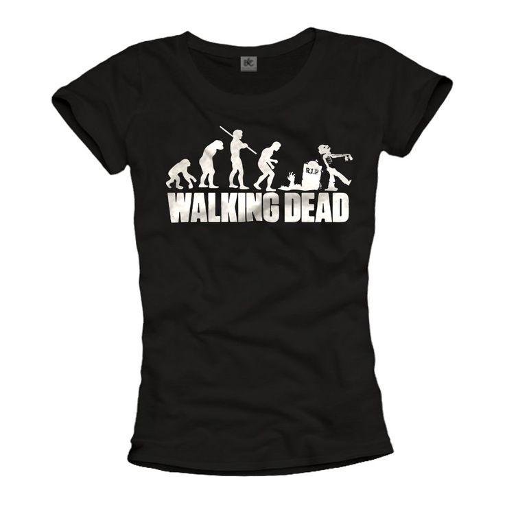 Walking Dead T-Shirt Femme ZOMBIE Evolution Noir: Amazon.fr: Vêtements et accessoires