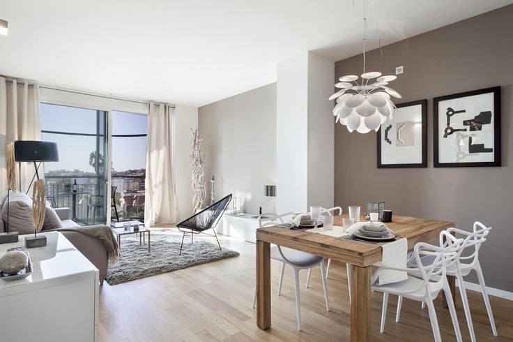 https://www.homify.es/libros_de_ideas/29674/ideas-para-pintar-las-paredes-de-gris PISO PILOTO EN BARCELONA CUIDAD todo decorado por HOME DECO by JUDITH FARRAN : Comedores de estilo moderno de Home Deco Decoración