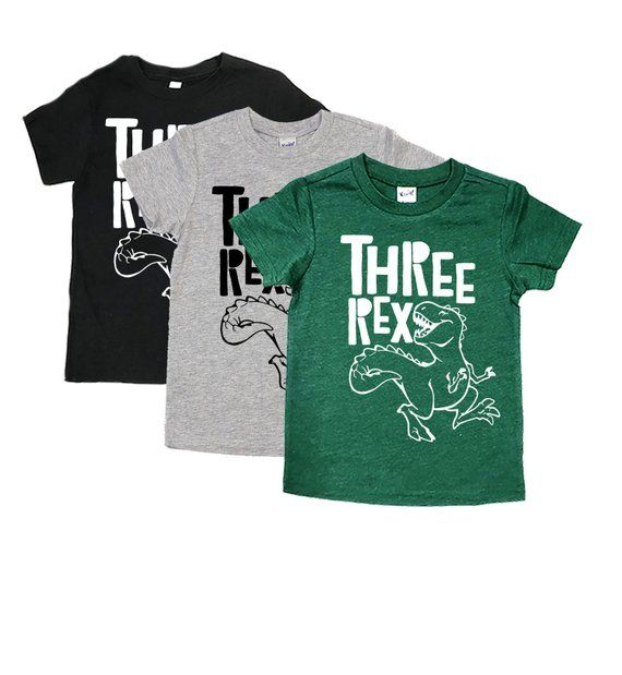 61b9f19bb THREE Rex Shirt - Dinosaur Birthday Shirts - 3 REX - Unisex Kids' Dinosaur  Birthday Tees - Birthday
