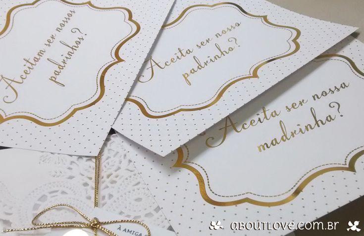 AboutLove - Convite poás para padrinhos dourado
