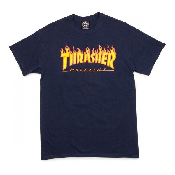 Thrasher Flame T-Shirt - Black (595 UAH) ❤ liked on Polyvore featuring tops and t-shirts