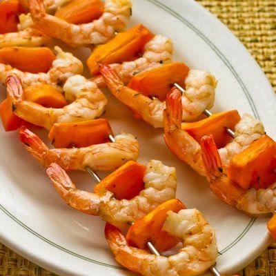 Persimmon and shrimp skewers