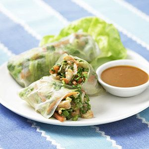 Asian Spring Rolls. When you want a quick dinner, try these shrimp and vegetable spring rolls. Serve them with peanut sauce for dipping.