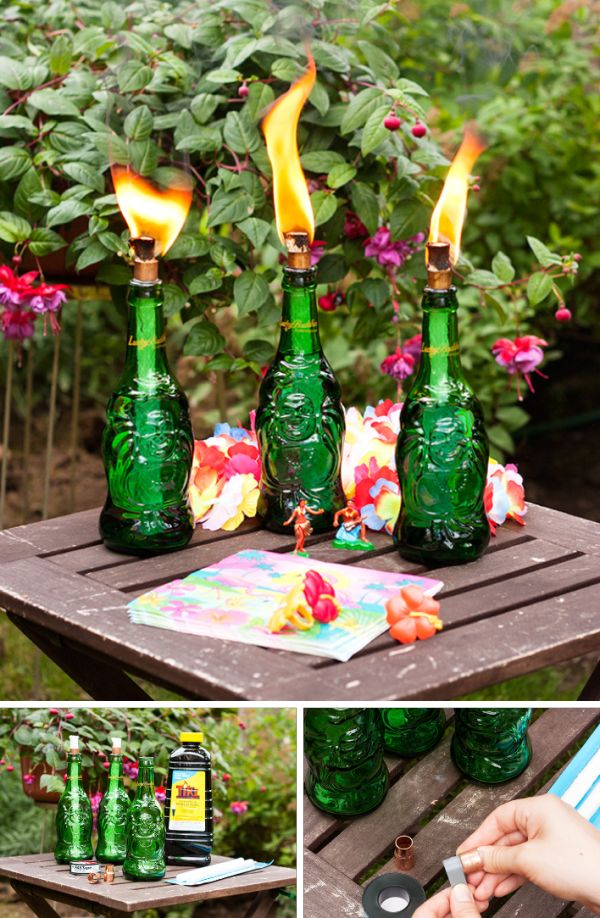 DIY Lucky Buddha Tiki Torches: Make this super easy project with old beer bottles or any other bottles!