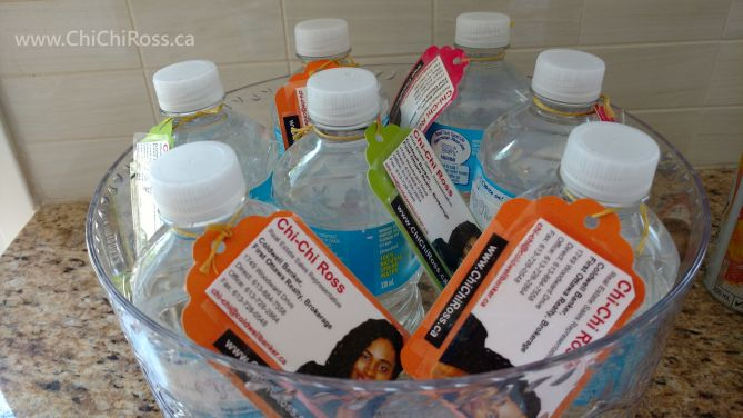 Open house idea - tied my business cards to the small-sized water bottles. And added a thank you label to the bottles.