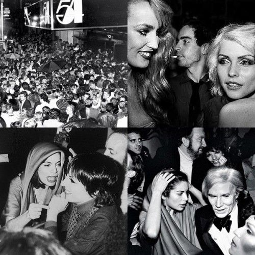 Studio 54 NYC - Liza, Bianca, Blondie, Andy Warhol, Jerry Hall and the crowd outside wating to get in.