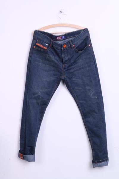 Diesel Adidas Mens 34 Jeans Trousers Cotton Orange Inserts Denim Pants - RetrospectClothes
