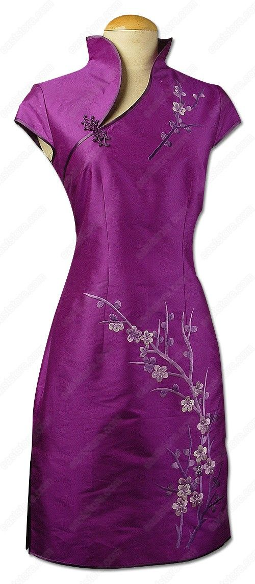 Purple Asian Dress-Unique Plum Blossom Embroidered Knee-Length Dress