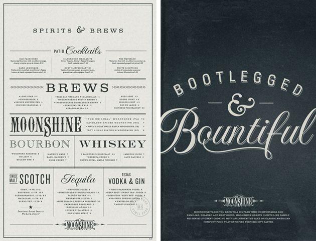 Moonshine Menu by Make & Matter #menu #identity