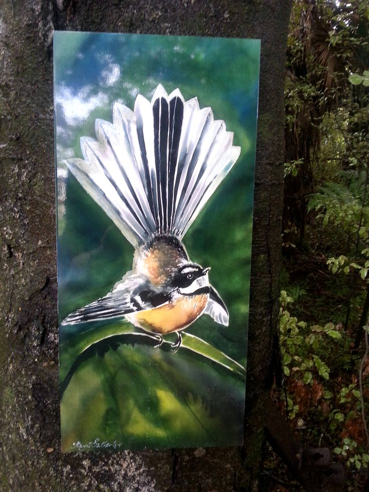 OUTDOOR Wall ART, New Zealand FANTAIL Bird, from my original silk painting, Outside Garden Art,  native bird, Handmade, small & large by KaySatherleyArt on Etsy
