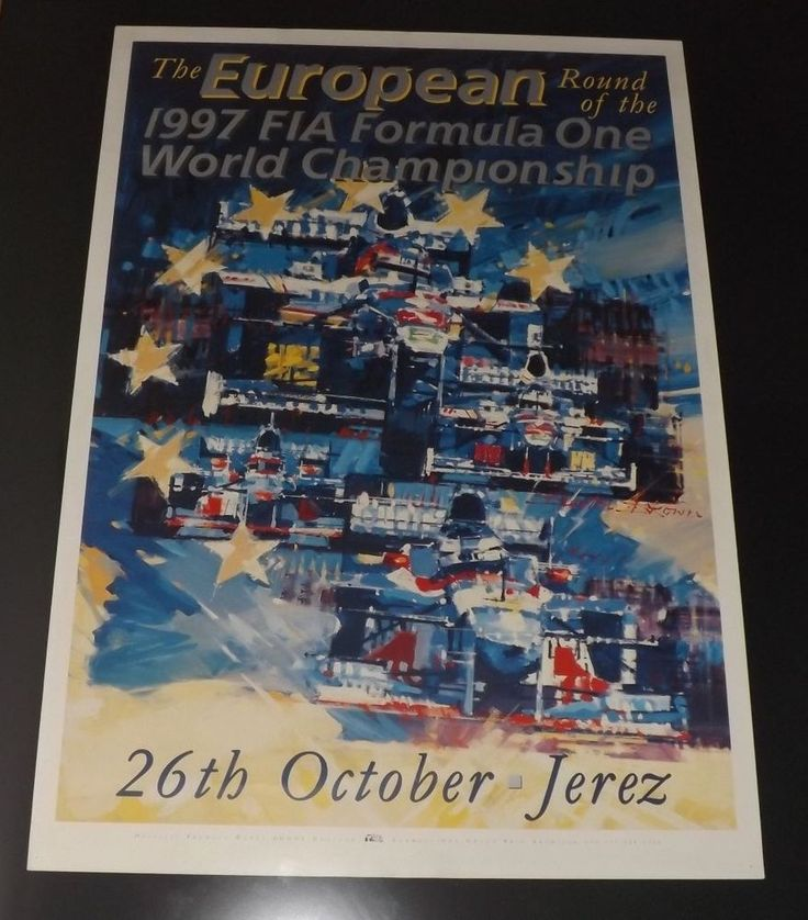 ORIGINAL 1997 JEREZ EUROPEAN GP FORMULA ONE POSTER ARTWORK DEXTER BROWN PRINT
