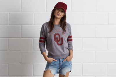 Tailgate Oklahoma Crewneck Sweatshirt by  American Eagle Outfitters | The Sooners have scored more points than any other college football team. Ever. That's over 33,000. Shop the Tailgate Oklahoma Crewneck Sweatshirt and check out more at AE.com.