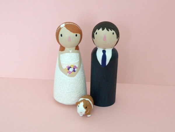 Wedding Cake Topper Peg People with one clay pet  by iislands, £48.00