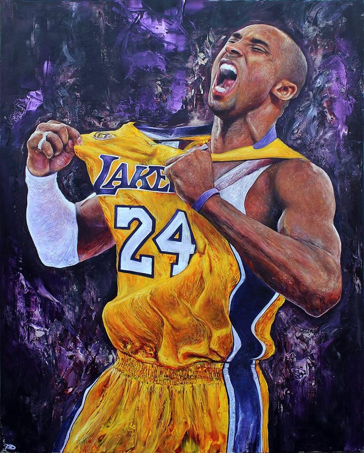 "Kobe Bryant, 48"" x 60"" acrylic on canvas by Paul Daniels."