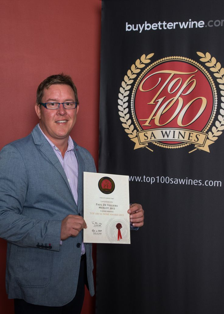 Our winemaker, Michiel du Toit, with the #Top100SAWine Award for our Paul de Villiers Merlot 2012 .... proud!