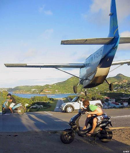 St. Bart's Airport approach, this is not a staged picture, this is real, and yes, real crazy!!