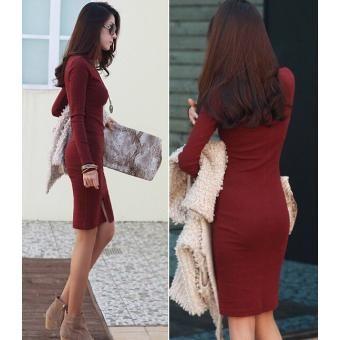 Fashion Women Vestido Cotton Turtleneck Long Sleeve Desigual Bodycon Casual Dress-L Tall