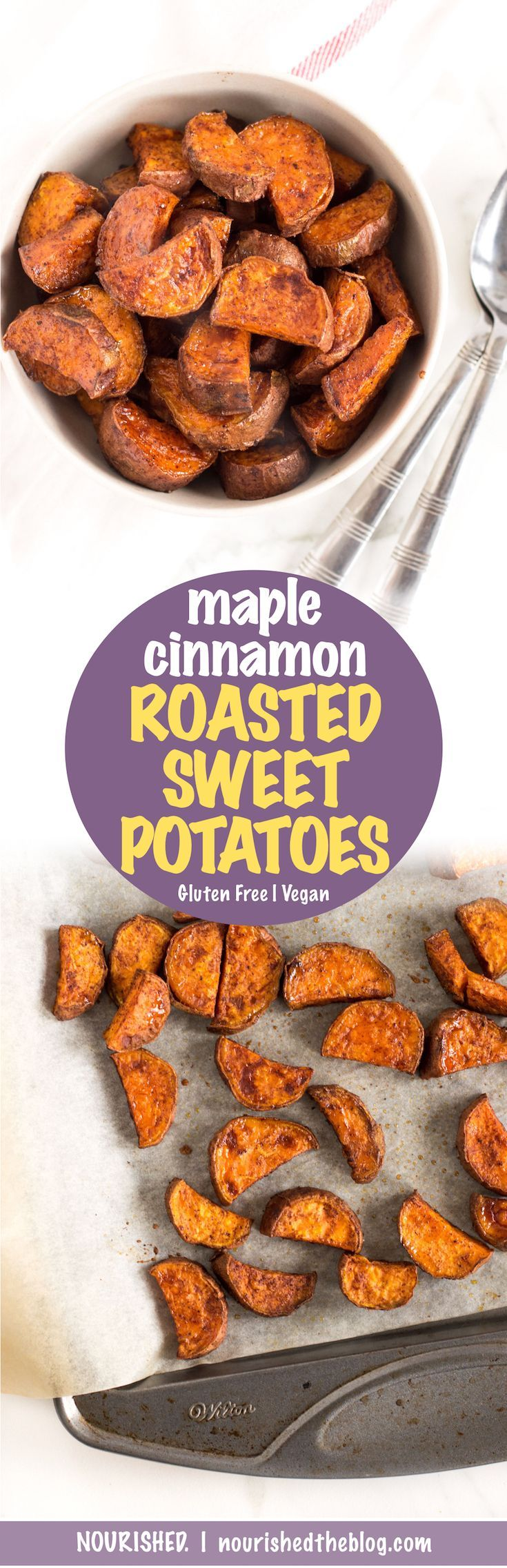 Maple Cinnamon Roasted Sweet Potatoes | sweet and savoury side dish | quick and easy recipe | gluten free and vegan | roasted sweet potato | These potatoes will definitely be a hit beside any dinner.