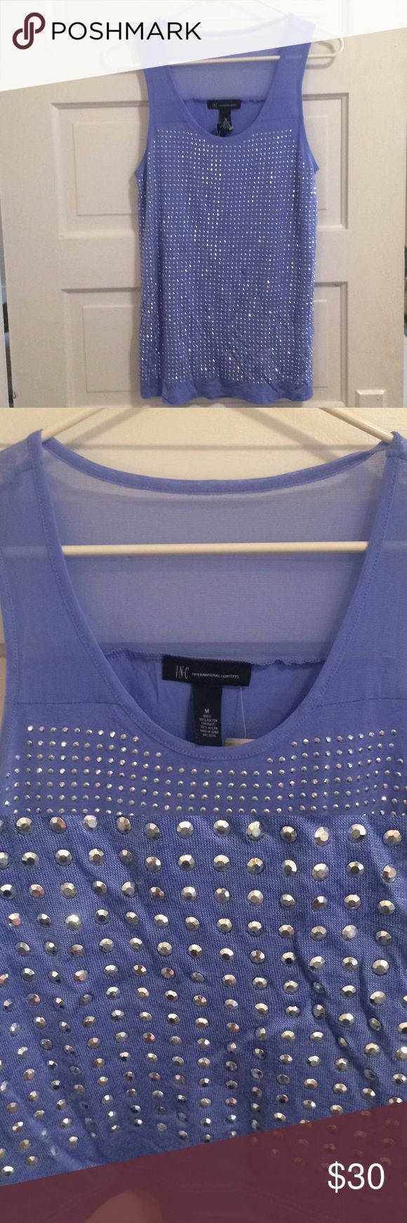 INC Bare Sleeve Soft Jersey Very sparkly festive Perry Winkle blue new with tags INC Tops