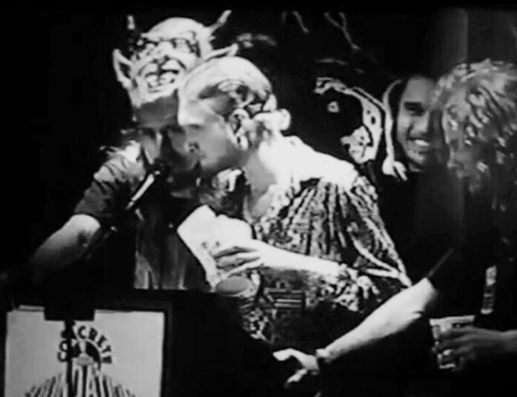 Jerry Cantrell, Layne Staley, Mike Starr acceting an award(Best Debut Album - Facelift), Concrete Foundation Awards in 1991