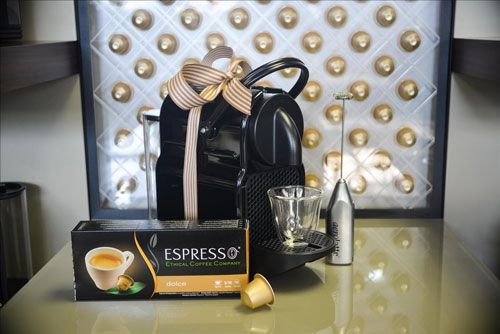 Nespresso Inissia Gift Set Classy and stylish, the Nespresso Inissia fits into any space at home or at the office while making a perfect espresso everytime.