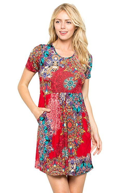 3273fbb683d Junky Closet Women's Short Sleeve Round Neck Loose Swing Casual T-Shirt  Dress with Pockets