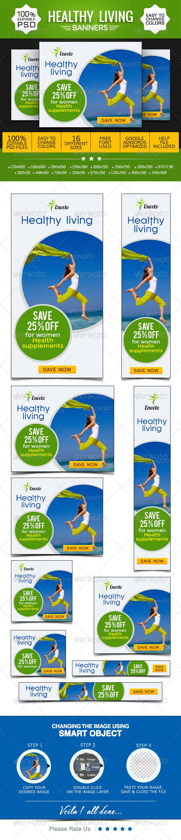 Health & Life Style Banners Template PSD | Buy and Download: http://graphicriver.net/item/health-life-style-banners/8621624?WT.ac=category_thumb&WT.z_author=BannerDesignCo&ref=ksioks