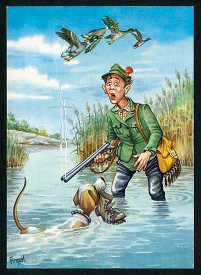 Открытка на тему охота и рыбалка