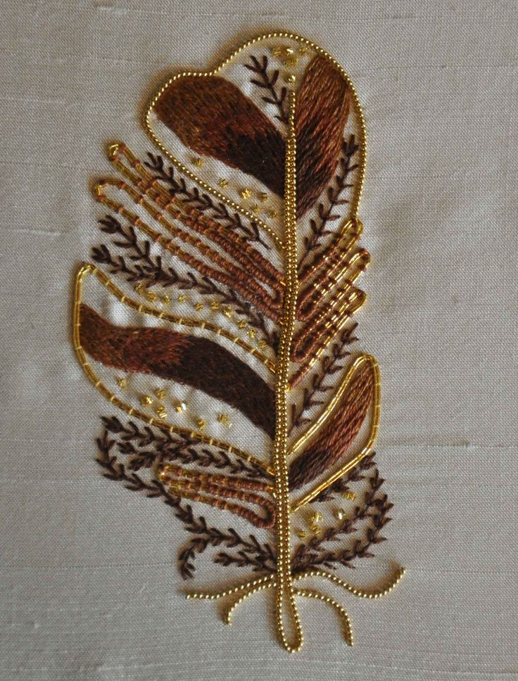Tawny Owl Feather ~ basic goldwork techniques ~ RSN class led by Helen Richman
