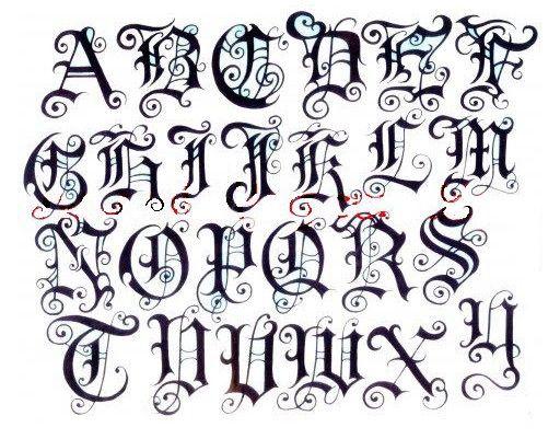 modèle tatouage Lettre gothique , 339468