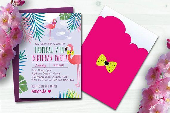 Girls Birthday Invitation Pink Flamingo Tropical Party 7th