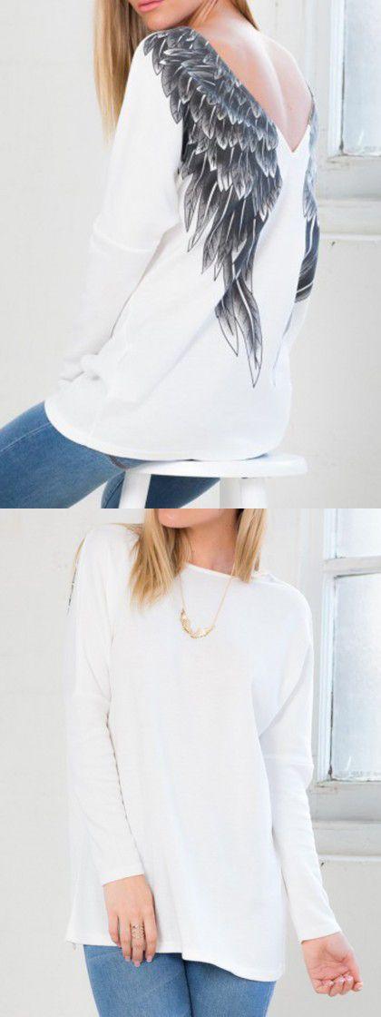 White Angel Wing Print Back Long Sleeve T-shirt