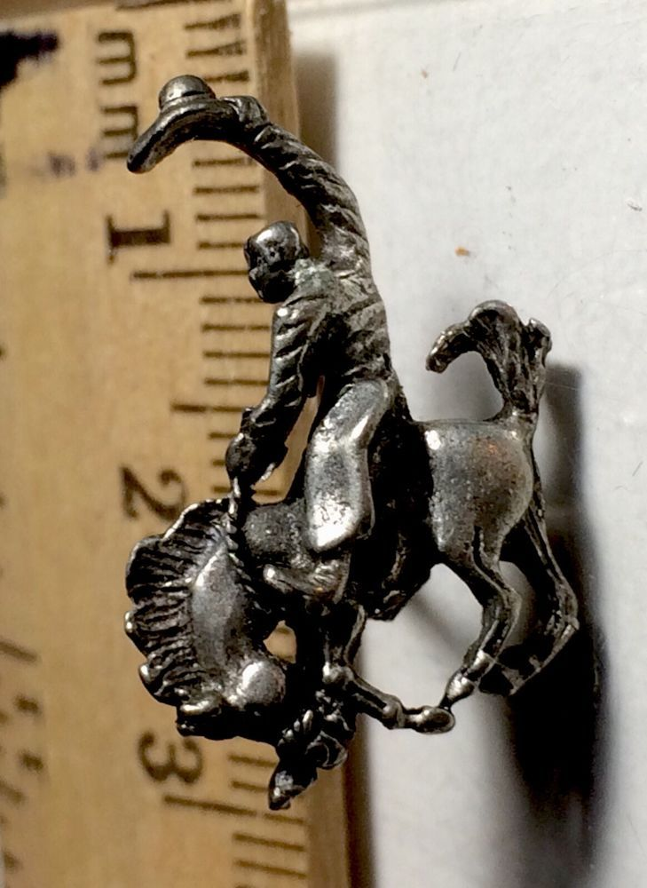 Rodeo Cowboy Bronco Horse Collectible Vintage Pewter Pins Appox 1 Inch Square #Unbranded