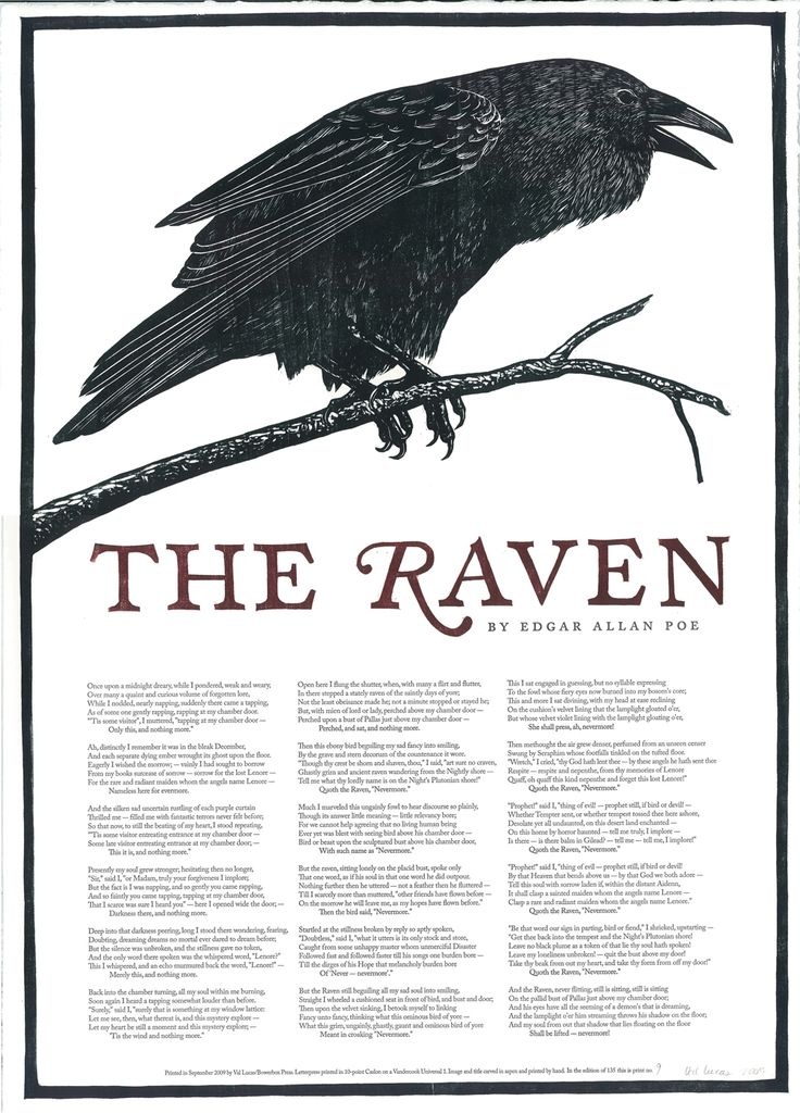 an analysis of edgar allan poes the raven Comparing edgar allan poe's annabel lee and the raven edgar allan poe's view on poetry is that all poems must be a rhythmical creation of beauty in his eyes, melancholy and sadness is beautful he thinks that the death of a young beautiful woman is itself full of beauty in both.
