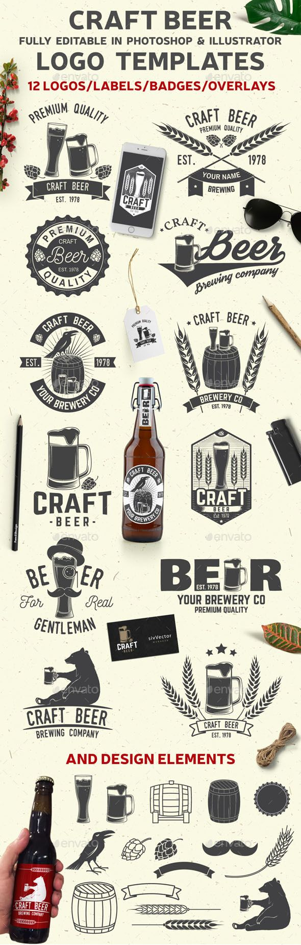 Craft Beer - #Badges & Stickers #Web Elements Download here: https://graphicriver.net/item/craft-beer/20069570?ref=alena994