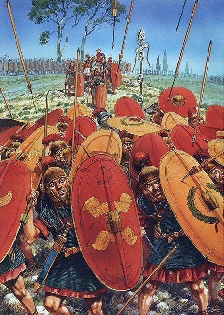 -0048 Bof Farsalia. Pompey and his legionaries at the battle of Pharsalus - art…
