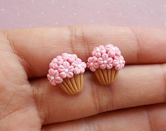 Cupcake earrings Tiny miniature food jewelry Flower earrings Florist gift Gift for her Gift