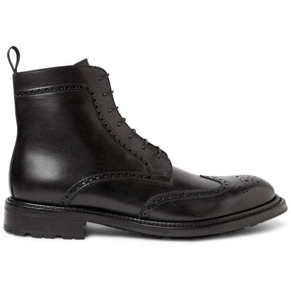 O'Keeffe Felix Water-Resistant Polished-Leather Wingtip Brogue Boots ($610) ❤ liked on Polyvore featuring men's fashion, men's shoes, men's boots, mens brogue shoes, mens wing tip boots, mens leather boots, mens leather shoes and mens wingtip boots