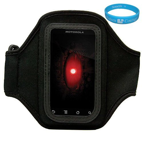 Black Durable Moisture Resistant Premium Neoprene Protective Multi Purpose Exercise Workout Armband with Adjustable Velcro Strap for Samsung Galaxy S II (Galaxy S2 Attain 4G Android Wireless Smartphone + SumacLife TM Wisdom Courage Wristband $11.99