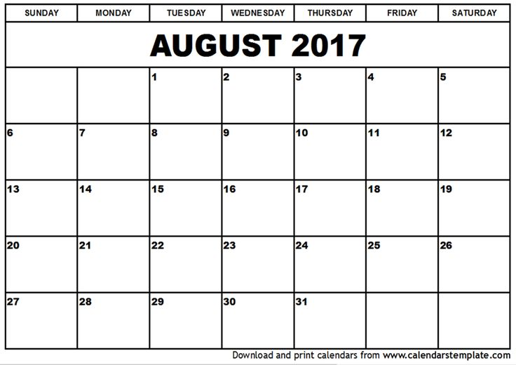 August 2017 Calendar Template Monthly Planner Stock Vector (2018