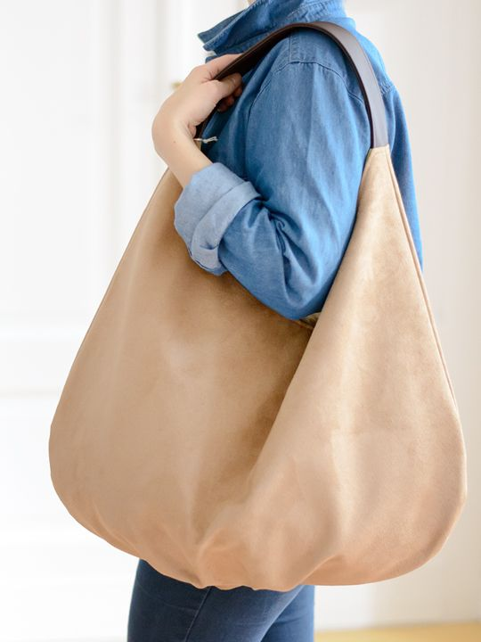 BIG series. XXL packable Hobbo Bag made of alcantara (eco suede). Contrasting holder and finish.
