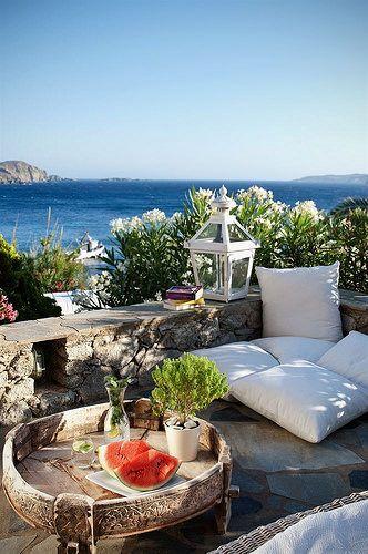 Seaside Lounging , Mykonos, Greece
