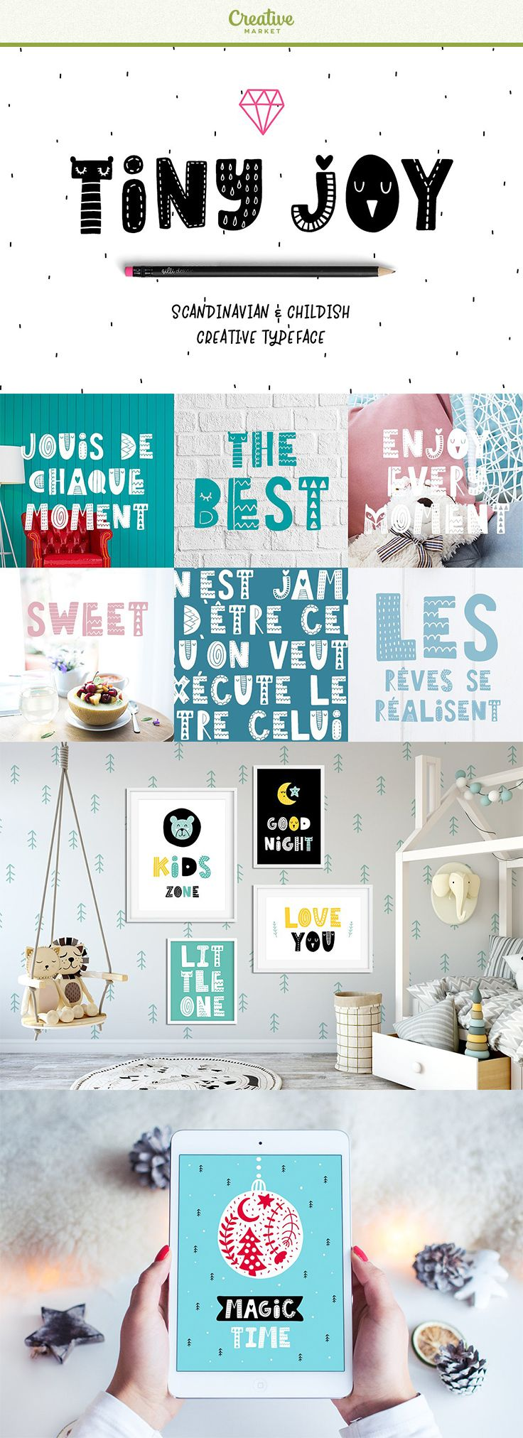 Tiny Joy Font - Scandinavian & Kids typeface! Font for your funny projects! ♥️This script is perfect for cards, prints, logos, invitations, arrange illustration and decoration. It has upper and lower case letters, numbers, special characters, accents. Perfect for Children! #affiliate